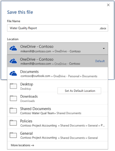Snimka zaslona s prikazom načina postavljanja zadanog mjesta u programu Word tijekom spremanja nove datoteke