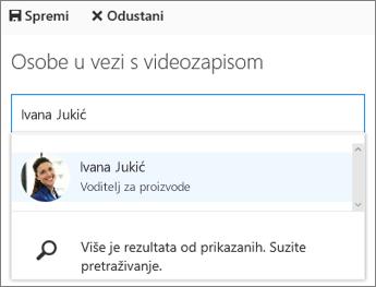 Povežite videozapis s određenom osobom u svojoj tvrtki ili ustanovi.