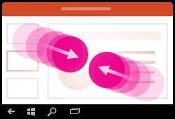 Gesta za smanjivanje razine uvećanja u programu PowerPoint za Windows Mobile