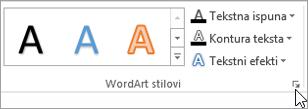 Odabir pokretač dijaloškog okvira WordArt stilovi
