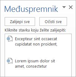 Prikazuje okno zadatka Međuspremnik s kopiranim sadržajima