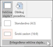 Na kartici Dizajn na vrpci odaberite Veličina slajda, a zatim Prilagođena veličina slajda.