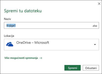 Dijaloški okvir za spremanje u programu Microsoft Excel za Office 365