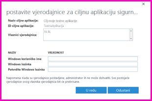 """Snimka zaslona dijaloškog okvira """"Postavljanje vjerodajnica za ciljnu aplikaciju sigurne pohrane"""". Taj dijaloški okvir omogućuje postavljanje vjerodajnica za prijavu za vanjski izvor podataka"""