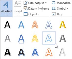 Odabir mogućnosti WordArt grafike