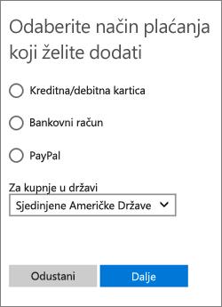 Prikaz dostupnih mogućnosti za Sjedinjene Američke Države na izborniku Odabir načina plaćanja.