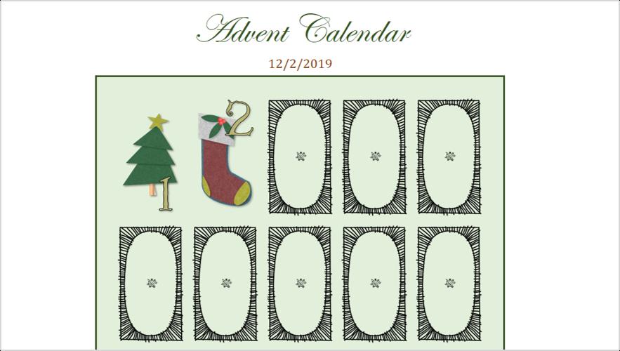 Slika digitalnog kalendarskog programa Advent