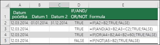 Primjeri korištenja funkcije IF s funkcijama AND, OR i NOT radi procjene datuma