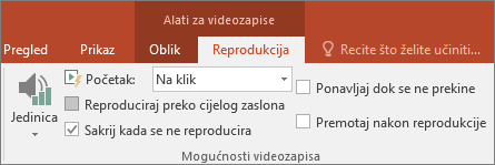 Prikazuje potvrdni okvir Sakrij kada se ne reproducira u alatima za videozapise programa PowerPoint