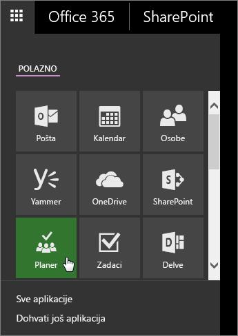 Snimka zaslona okna s aplikacijama sustava Office 365 i aktivnom pločicom servisa Planner.