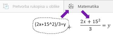 Prikazuje unesenu jednadžbu, gumb za matematičke izraze i pretvorenu jednadžbu