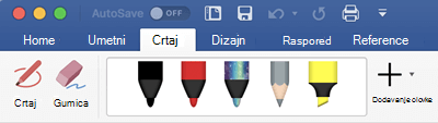 Olovke i alati za isticanje na kartici crtanje u sustavu Office 365 za Mac