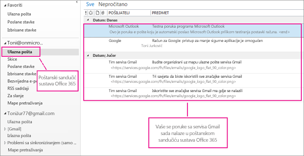 Nakon uvoza e-pošte u poštanski sandučić sustava Office 365 on će se pojaviti na dva mjesta.