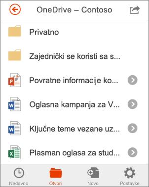 Datoteke sa servisa OneDrive u sustavu Office Mobile