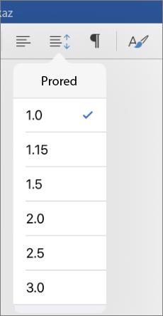 Prikazuje mogućnosti proreda u programu Word za iPad.
