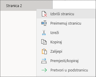 Uklanjanje stranice u aplikaciji OneNote za Windows 10