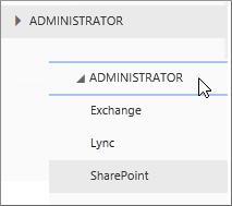 Proširite odjeljak Administrator da biste vidjeli dostupne centre za administratore