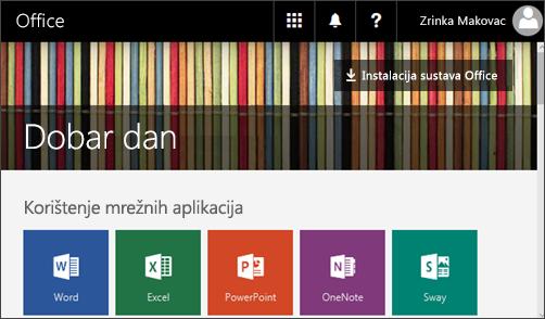 Snimka zaslona s prikazom početne stranice i gumba Instalacija sustava Office