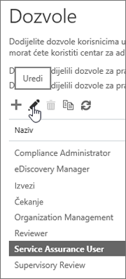 Pokazuje odabranu ulogu Korisnik servisnog jamstva, a zatim odabir ikone za uređivanje.