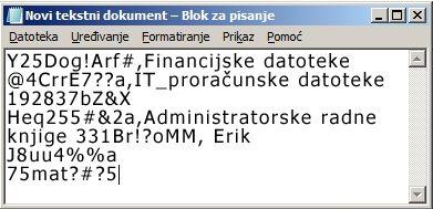 popis lozinki u datoteci programa blok za pisanje