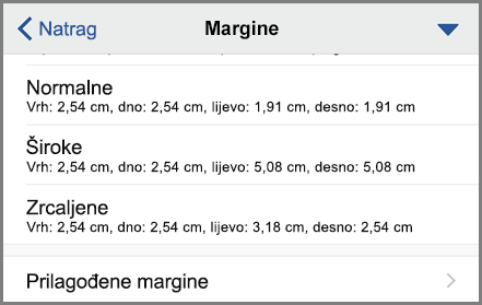 Prikazuje mogućnosti margina