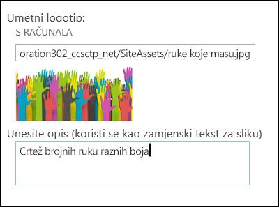 Dijaloški okvir za naslov i logotip novog web-mjesta sustava SharePoint Online koji pokazuje kako stvoriti zamjenski tekst za sliku logotipa