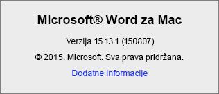 Snimka zaslona sa stranicom O programu Word u programu Word za Mac