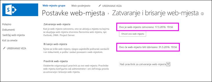 Zatvaranje web-mjesta i brisanje stranica na kojoj datuma