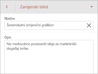 Zamjenski tekst naredbi na kartici SmartArt