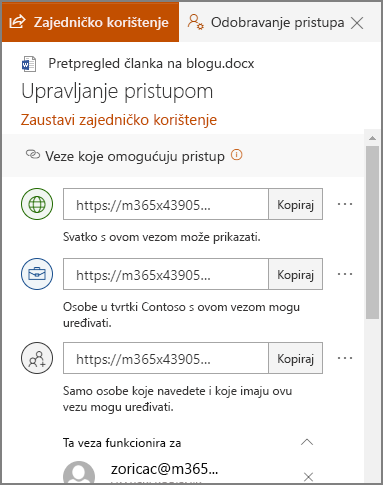 Snimka zaslona s pločom za upravljanje pristupom koja prikazuje veze za zajedničko korištenje.