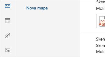 Snimka zaslona gumba pošta, kalendar, osobe, fotografije i zadatke pri dnu navigacijskog okna