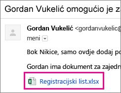 Poruka e-pošte kojom se primatelj poziva na zajedničko korištenje dokumenta