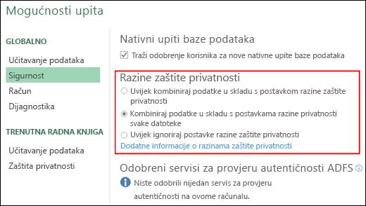 Power Query – postavljanje onemogućivanja upita o razini zaštite privatnosti na razini stroja (uključujući ključ registra)