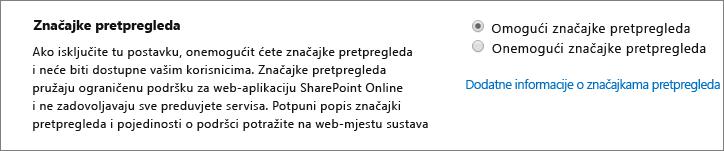 Postavka Značajke pretpregleda u centru za administratore sustava SharePoint