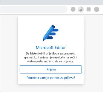 Kliknite ikonu zatamnjene uređivača i prijavite se.