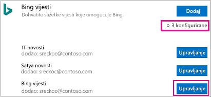 Gumb Upravljanje na stranici poveznika