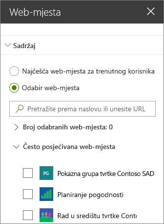 Web-mjesta web-dijela postavke