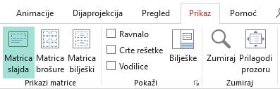 Rasporedi slajdova mogu se prilagoditi u prikazu matrice slajdova