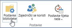 Gumbi za postavke biblioteke sustava SharePoint na vrpci