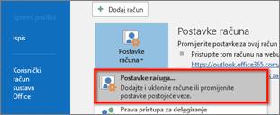 Postavke računa za Windows