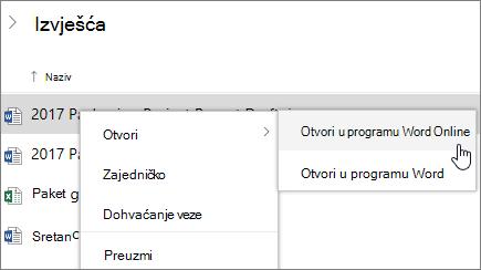 Otvaranje datoteke u programu Word Online na servisu OneDrive