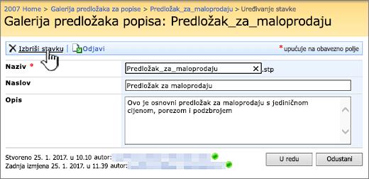Uređivanje popisa predložak stranice s Izbriši istaknut.