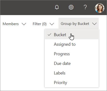 Snimka zaslona s padajućim popisom u programu Planner, odabir aplikacije Bucket