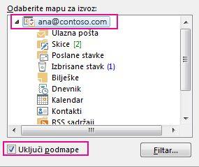 dijaloški okvir za izvoz podatkovne datoteke programa outlook s odabranom glavnom mapom i potvrđenim okvirom uključi podmape