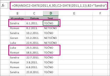 Korištenje funkcija AND i OR u istoj formuli