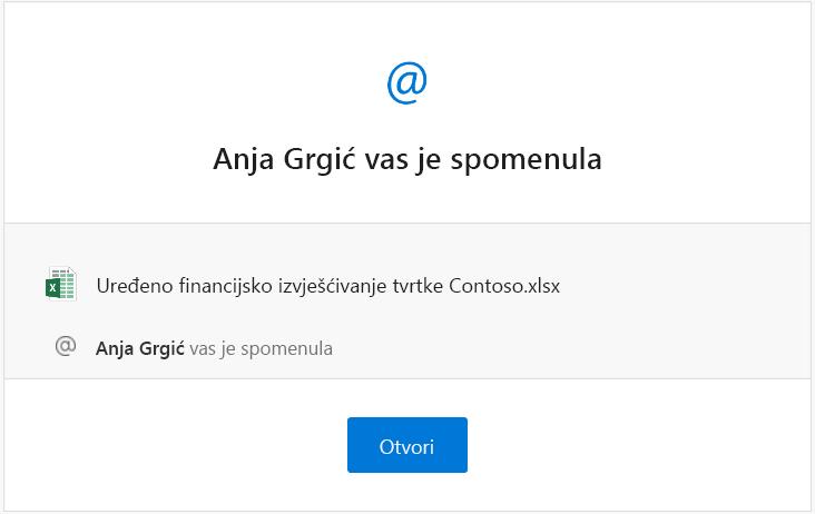 Snimka zaslona obavijesti e-poštom o spominjanju iz programa Excel