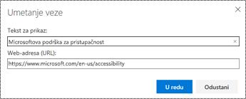 Dijaloški okvir hiperveza u programu Outlook na webu.