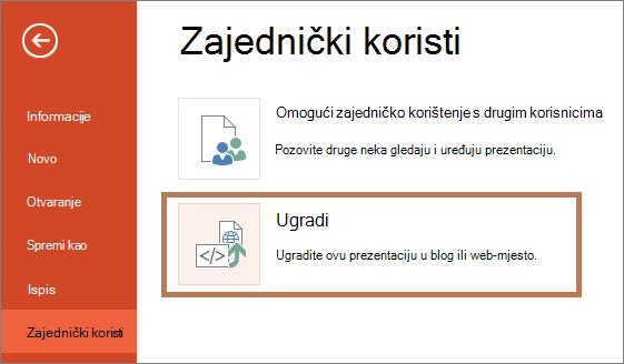 Ugradnja prezentacije programa PowerPoint