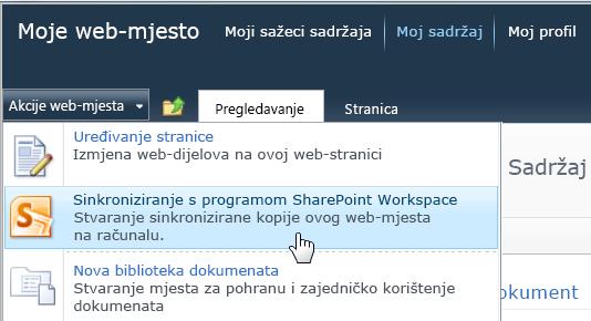 Naredba Sinkroniziraj s radnim prostorom sustava SharePoint na izborniku Akcije web-mjesta