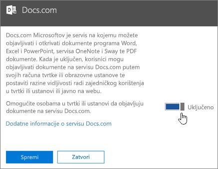 Postavite klizač na položaj Uključeno da biste korisnicima u svojoj tvrtki ili ustanovi omogućili objavljivanje na Docs.com